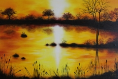 94 Abendsonne 90 x 60 breiter Rahmen